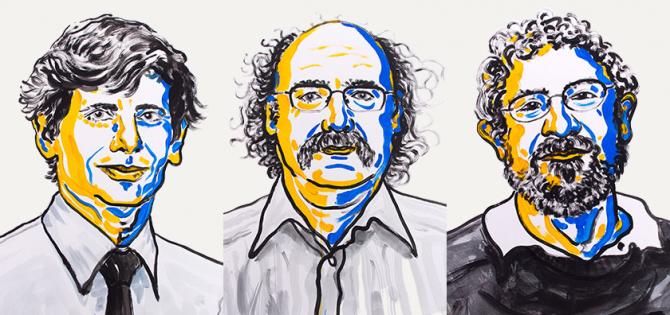왼쪽부터 데이비드 사울레스, 던컨 홀데인, 마이클 코스털리츠.  - 노벨상위원회 제공